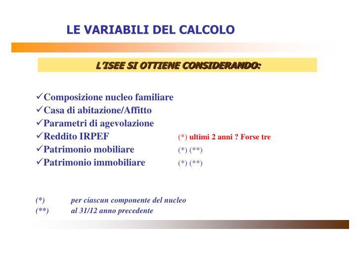 LE VARIABILI DEL CALCOLO