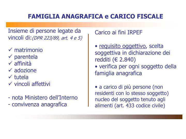 FAMIGLIA ANAGRAFICA e CARICO FISCALE