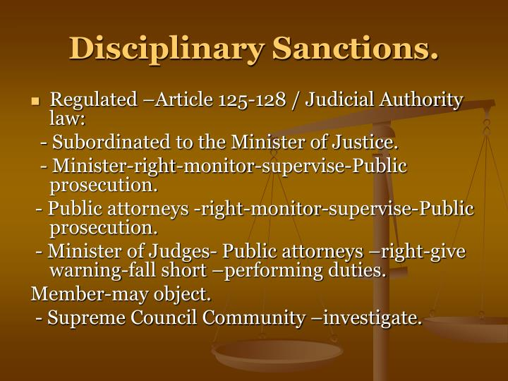 Disciplinary Sanctions.