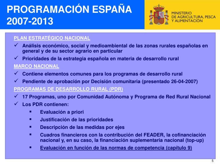 PROGRAMACIÓN ESPAÑA 2007-2013