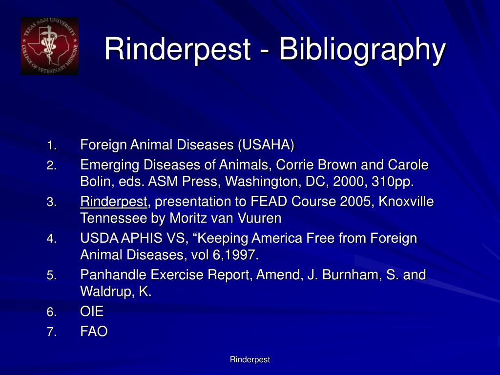 Rinderpest - Bibliography