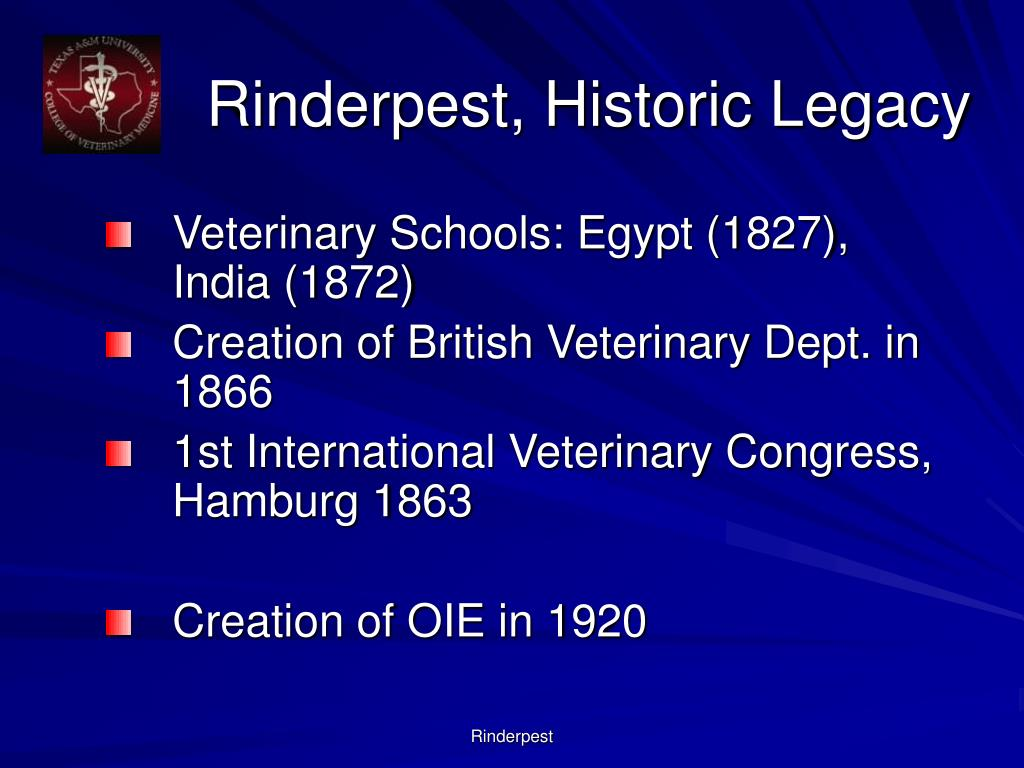 Rinderpest, Historic Legacy
