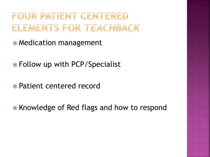 Four patient centered elements for