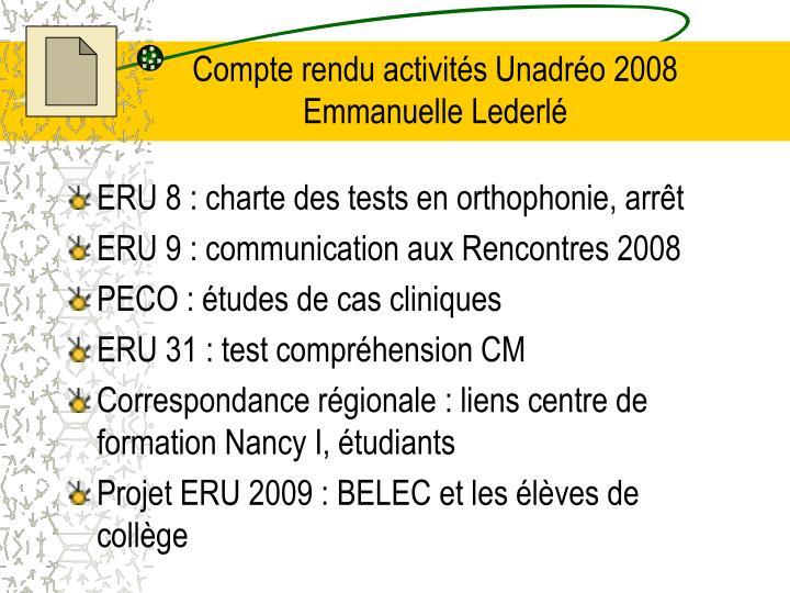 Compte rendu activités Unadréo 2008