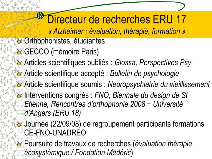Directeur de recherches ERU 17