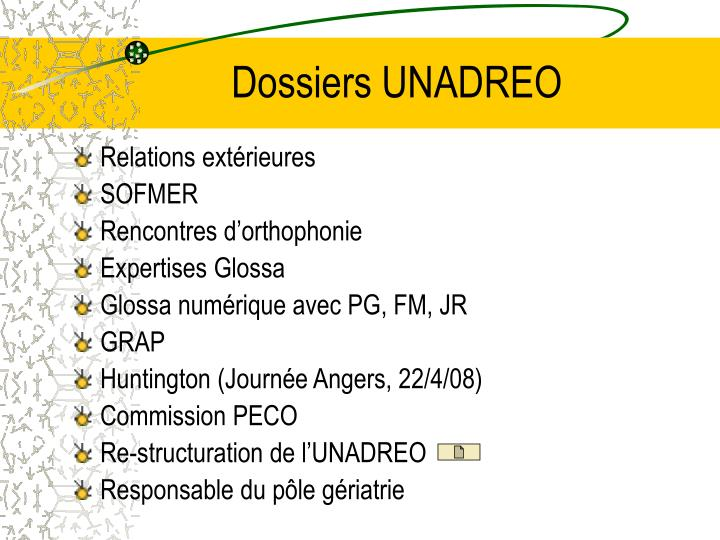 Dossiers UNADREO