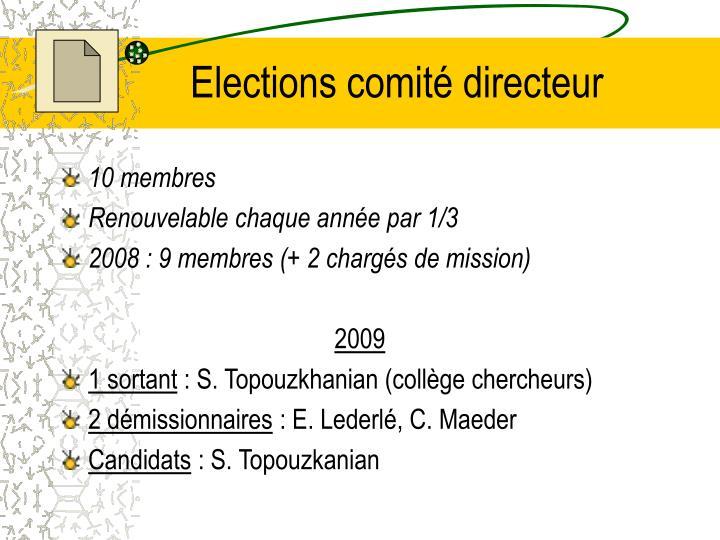Elections comité directeur