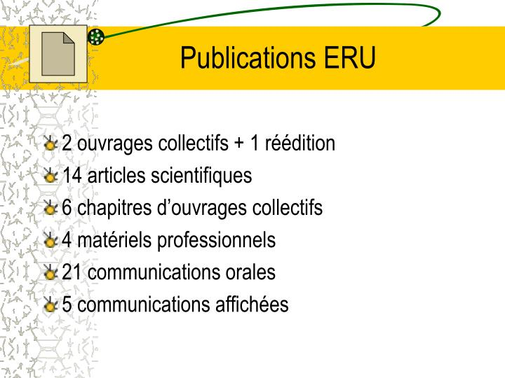 Publications ERU
