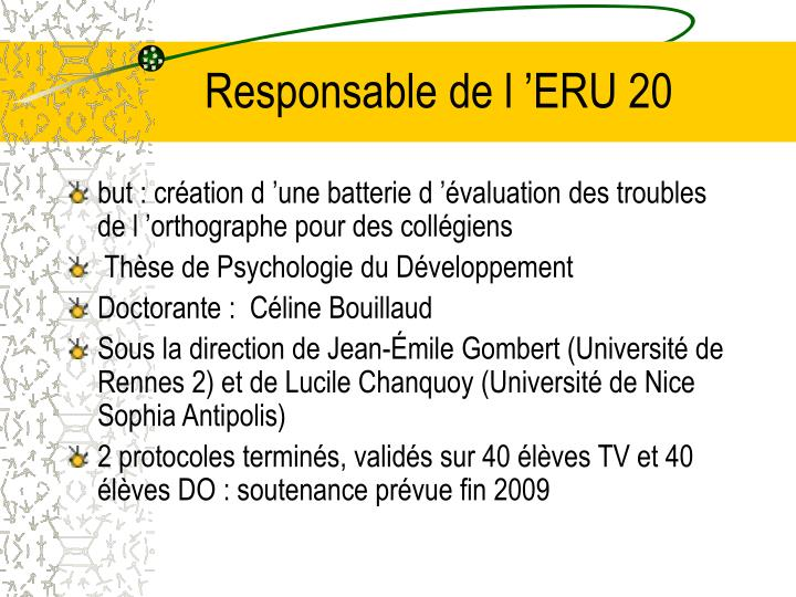 Responsable de l'ERU 20