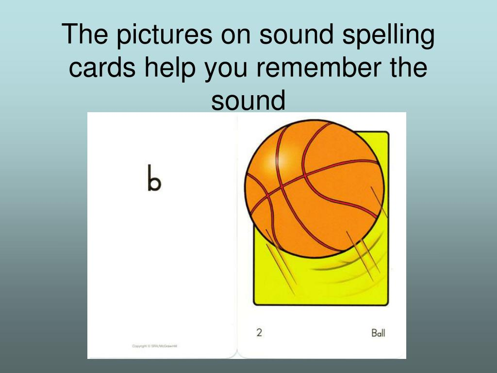 The pictures on sound spelling cards help you remember the sound