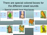 there are special colored boxes for the different vowel sounds10
