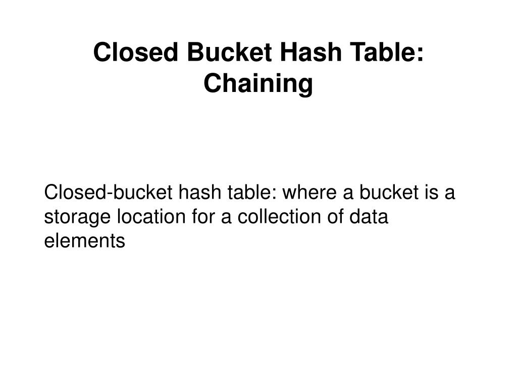 Closed Bucket Hash Table: Chaining