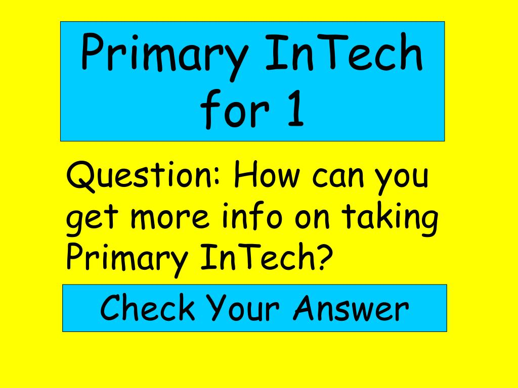 Primary InTech for 1
