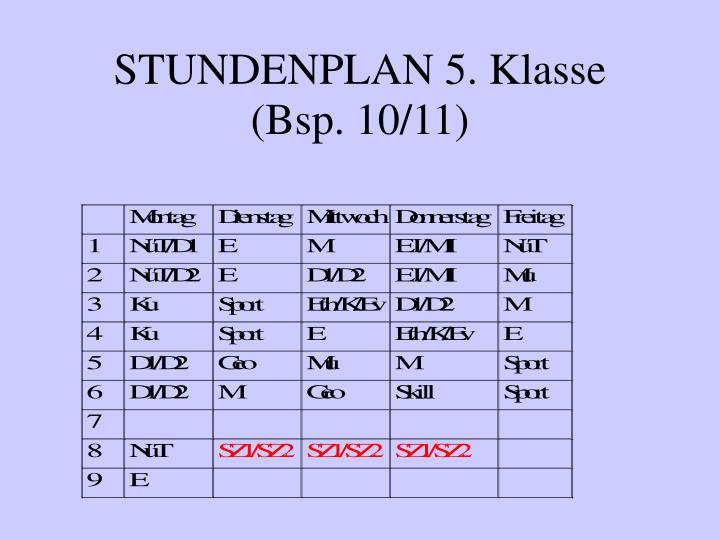 STUNDENPLAN 5. Klasse