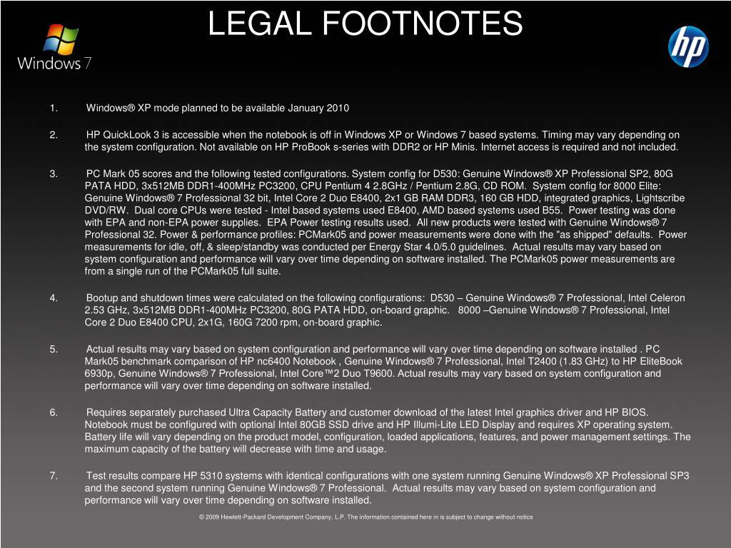 LEGAL FOOTNOTES