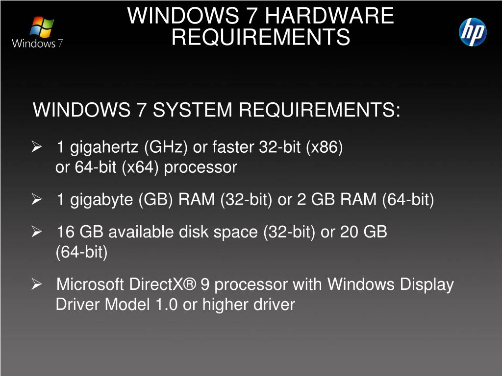 WINDOWS 7 SYSTEM REQUIREMENTS: