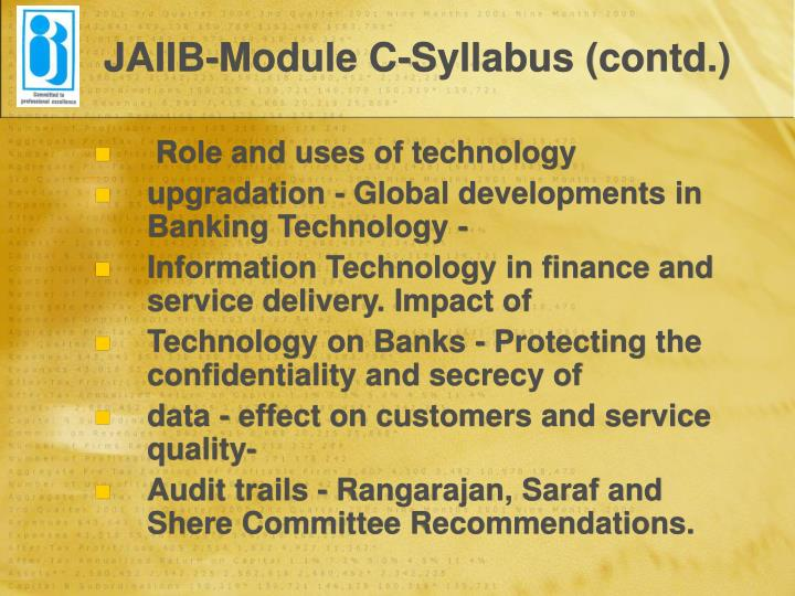 JAIIB-Module C-Syllabus (contd.)