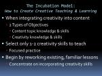 the incubation model how to create creative teaching learning