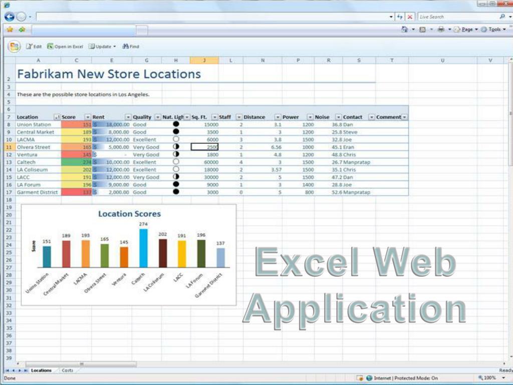 Excel Web Application