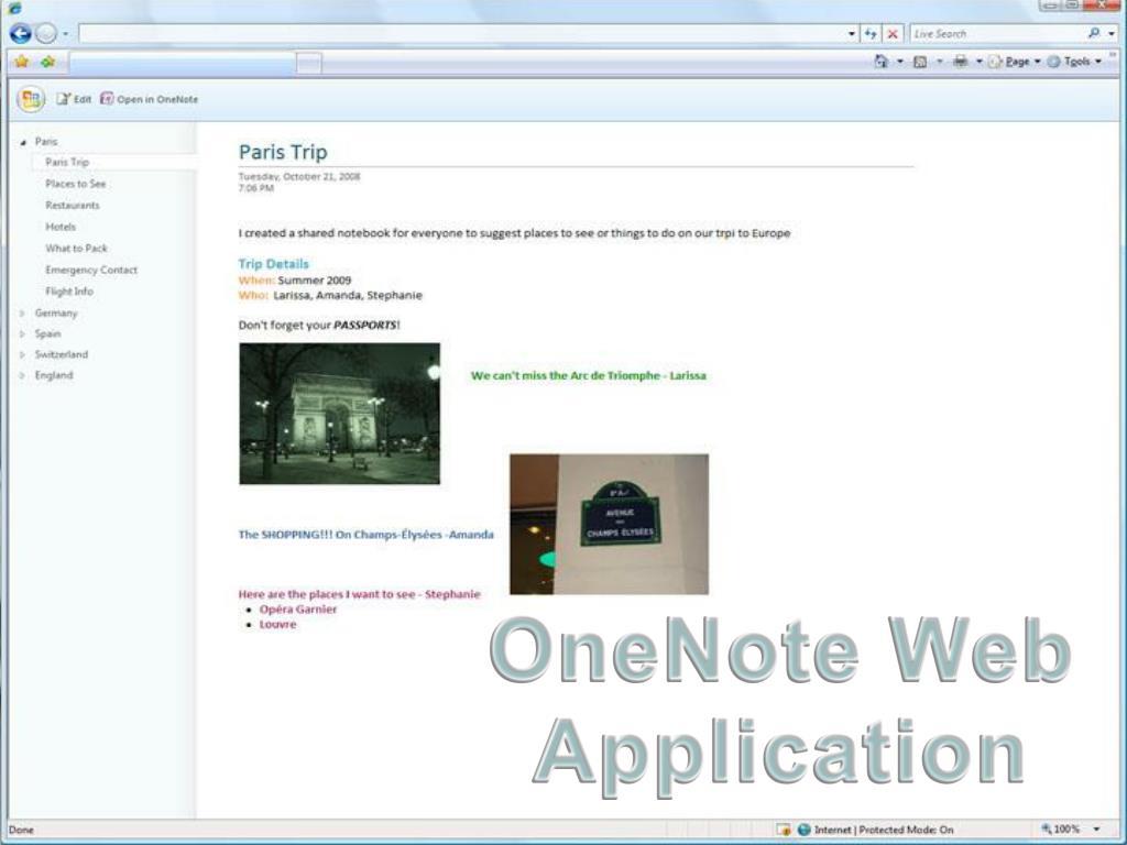 OneNote Web Application