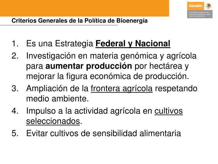 Criterios Generales de la Política de Bioenergía