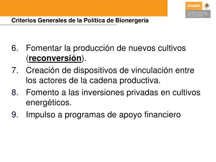 Criterios Generales de la Política de Bionergería