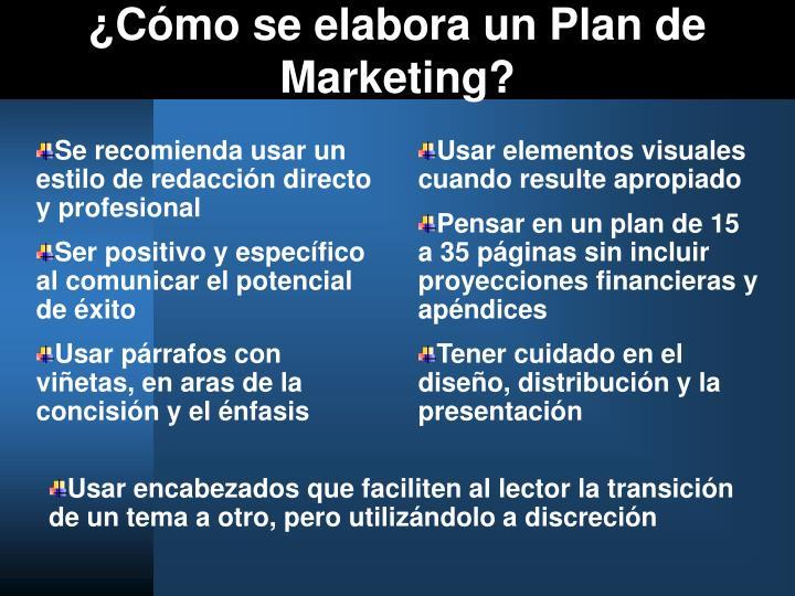 ¿Cómo se elabora un Plan de Marketing?