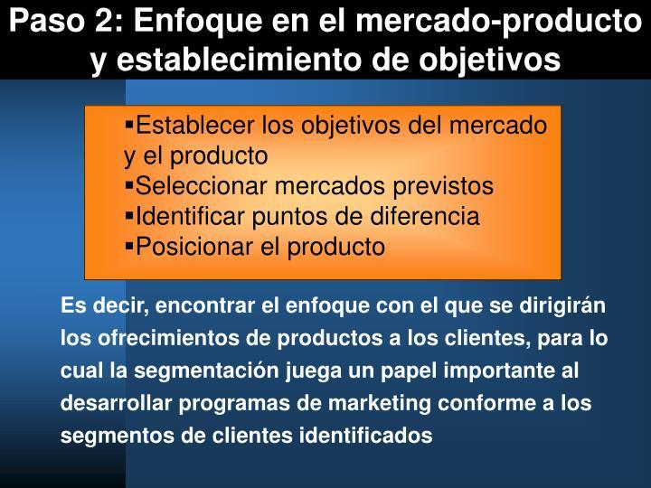 Paso 2: Enfoque en el mercado-producto y establecimiento de objetivos