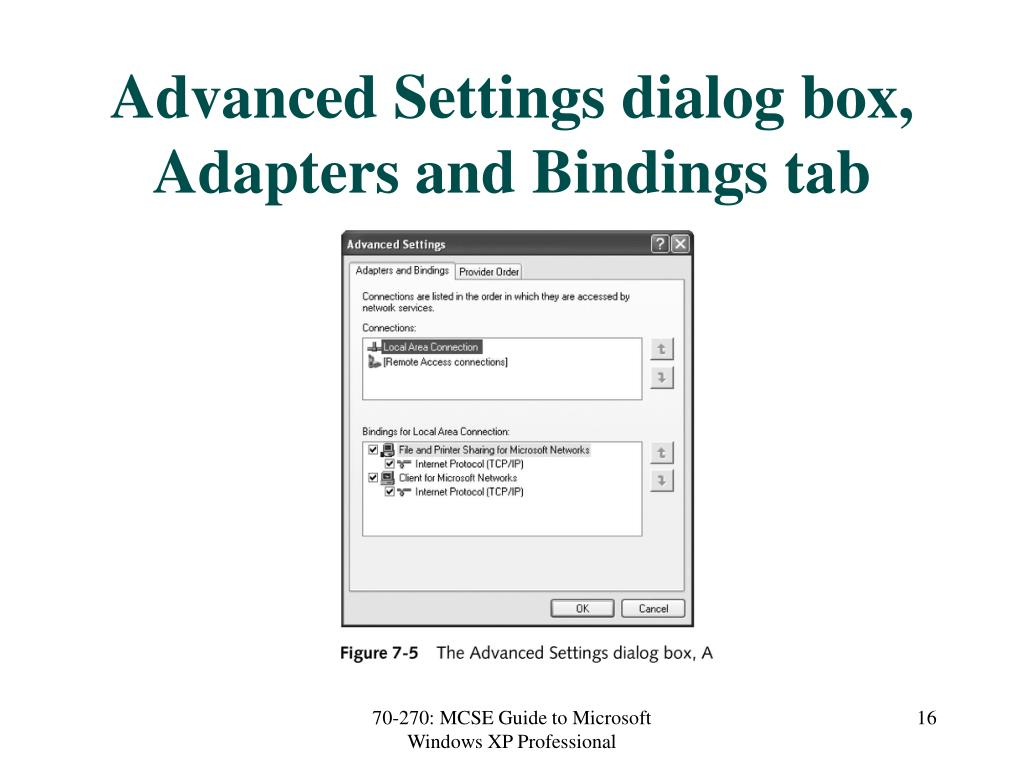 Advanced Settings dialog box, Adapters and Bindings tab