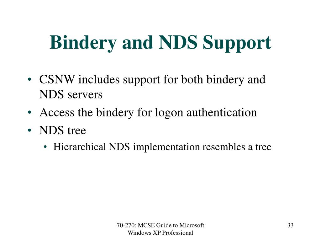 Bindery and NDS Support