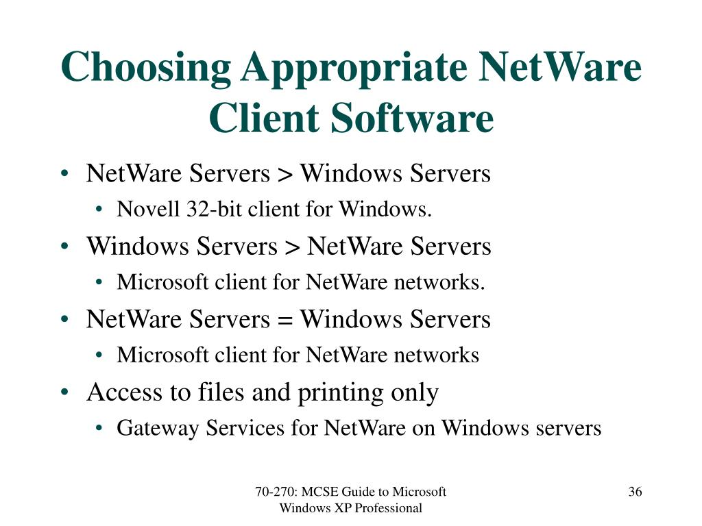 Choosing Appropriate NetWare Client Software