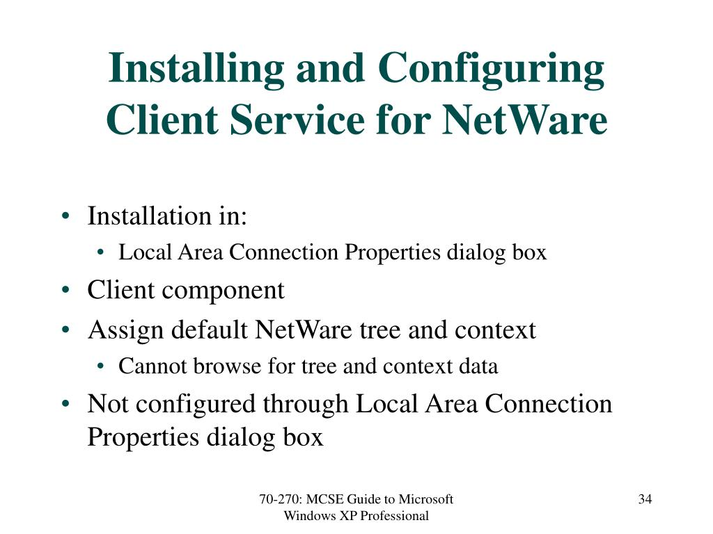 Installing and Configuring Client Service for NetWare