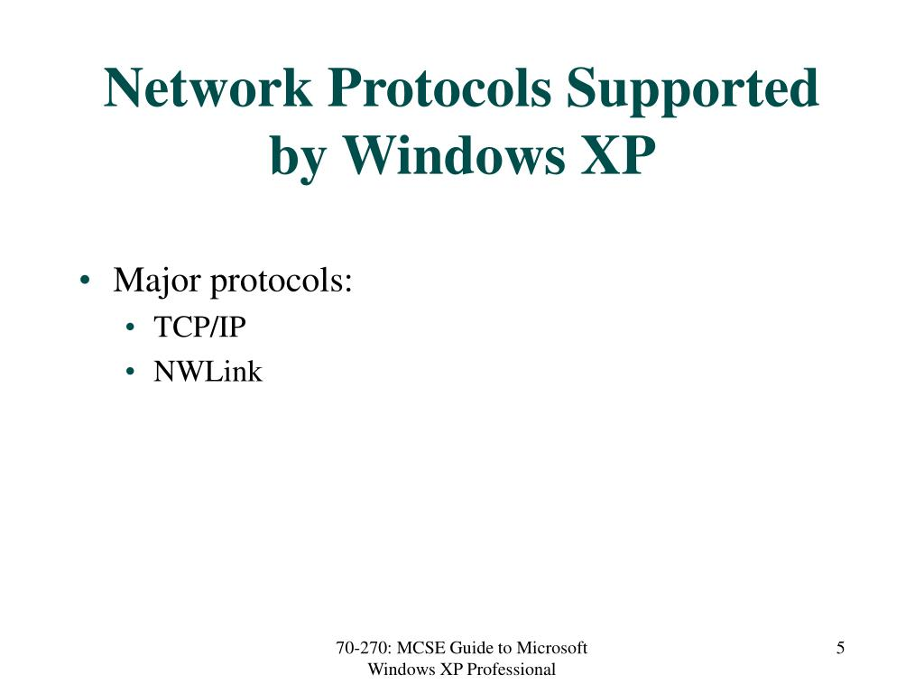 Network Protocols Supported by Windows XP