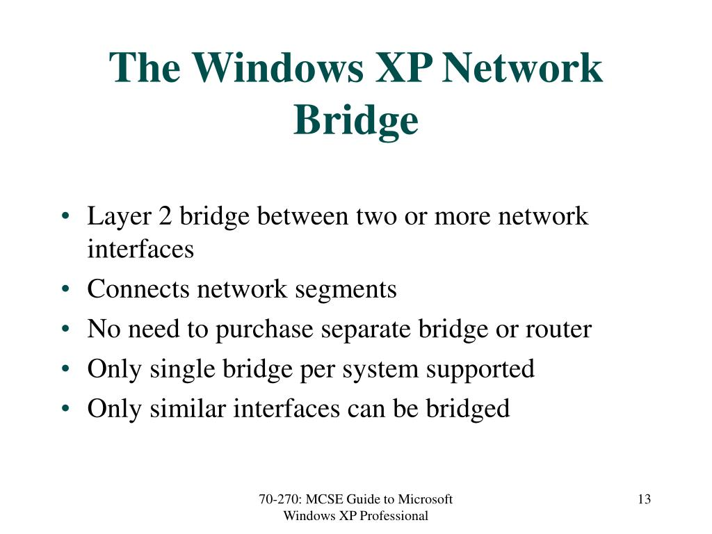 The Windows XP Network Bridge