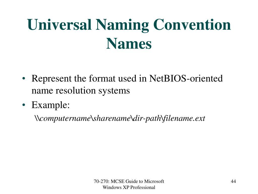 Universal Naming Convention Names