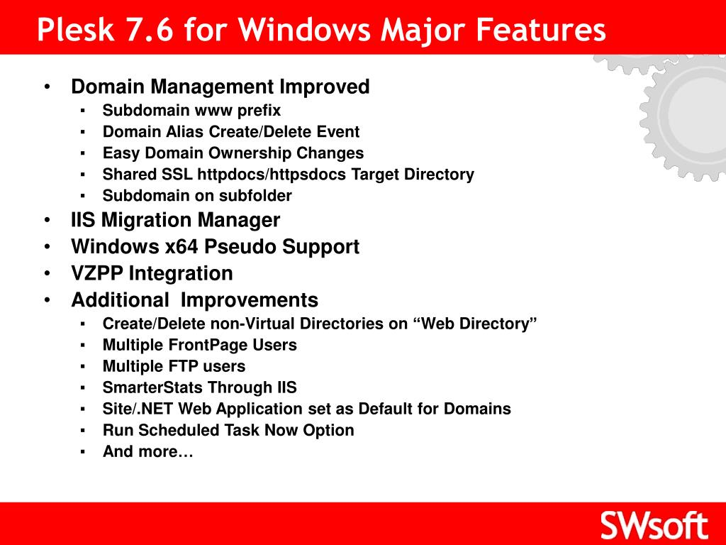 Plesk 7.6 for Windows Major Features