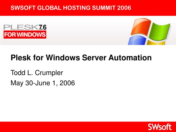 Plesk for windows server automation