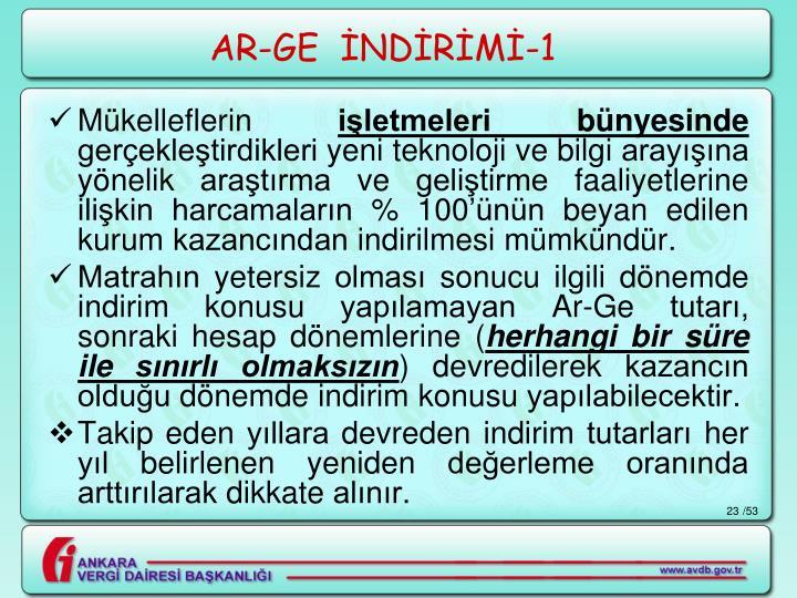 AR-GE  İNDİRİMİ-1