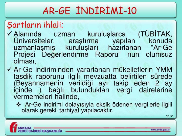 AR-GE  İNDİRİMİ-10