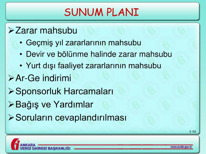 SUNUM PLANI