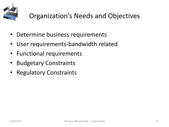 Organization's Needs and Objectives
