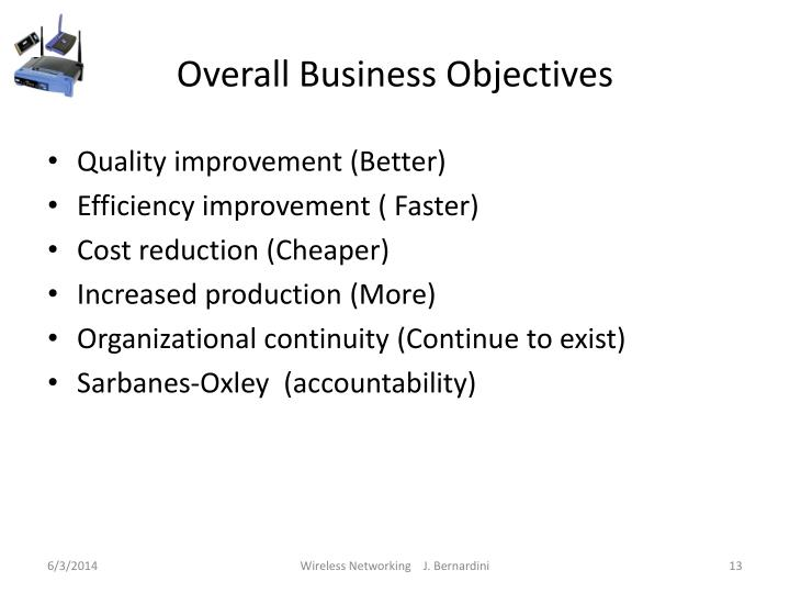 Overall Business Objectives