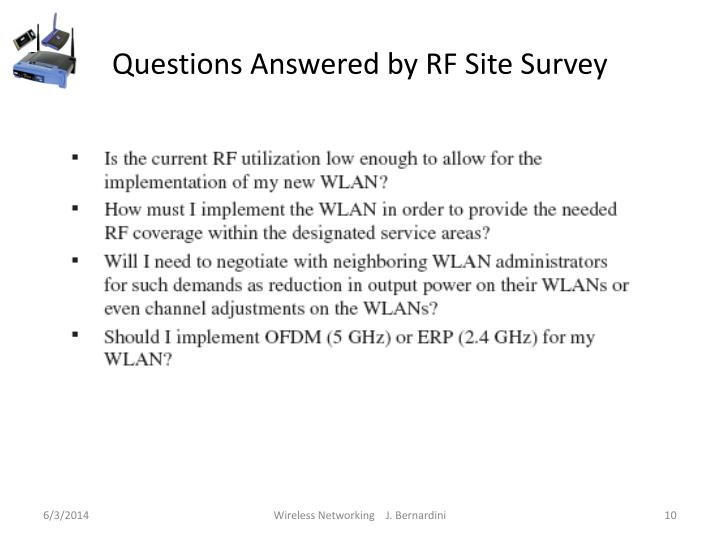 Questions Answered by RF Site Survey