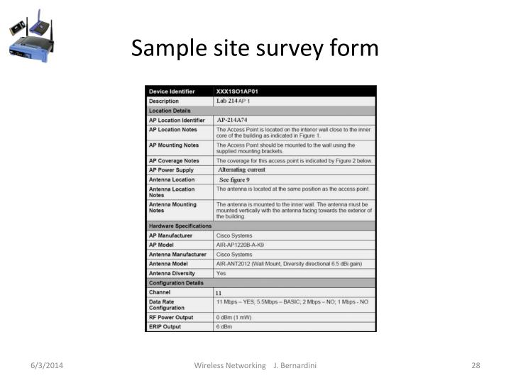 Sample site survey form