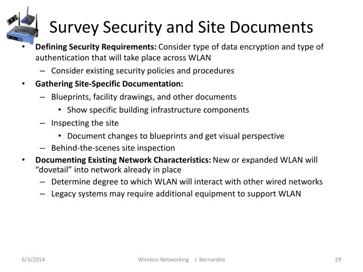 Survey Security and Site Documents