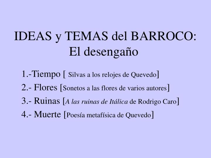 IDEAS y TEMAS del BARROCO: