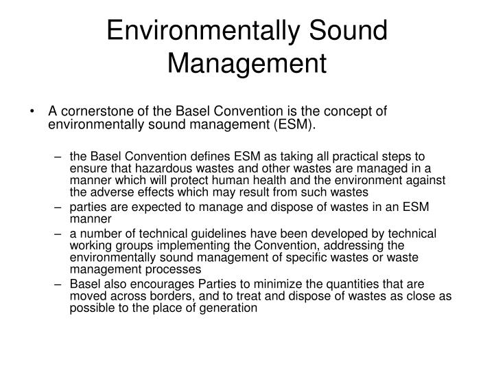Environmentally sound management