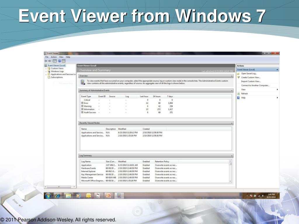 Event Viewer from Windows 7