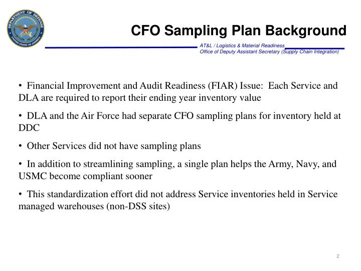 CFO Sampling Plan Background