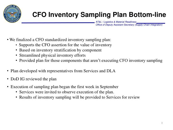CFO Inventory Sampling Plan